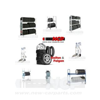 Tyre Tire stacking rack with carrier tubes